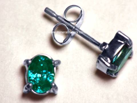 14k White Gold Natural Brazilian Alexandrite Earrings With Very Strong Color Change Alxj174
