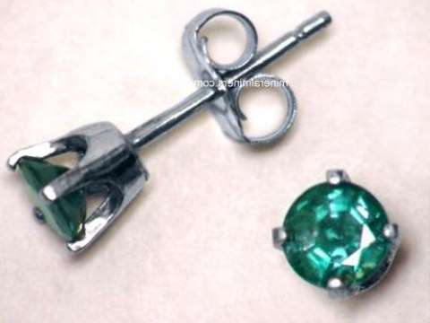 14k White Gold Natural Alexandrite Earrings With Very Good Color Change Alxj220