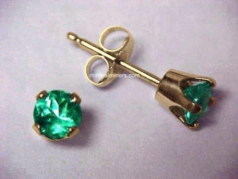 3 3mm Emerald Earrings In 14k Yellow Gold Studs Emej126y
