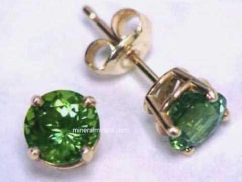 7mm Green Tourmaline Earrings In 14k Gold Tgrj389